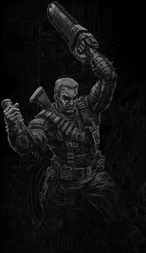 Chainsaw Warrior B&W darkness