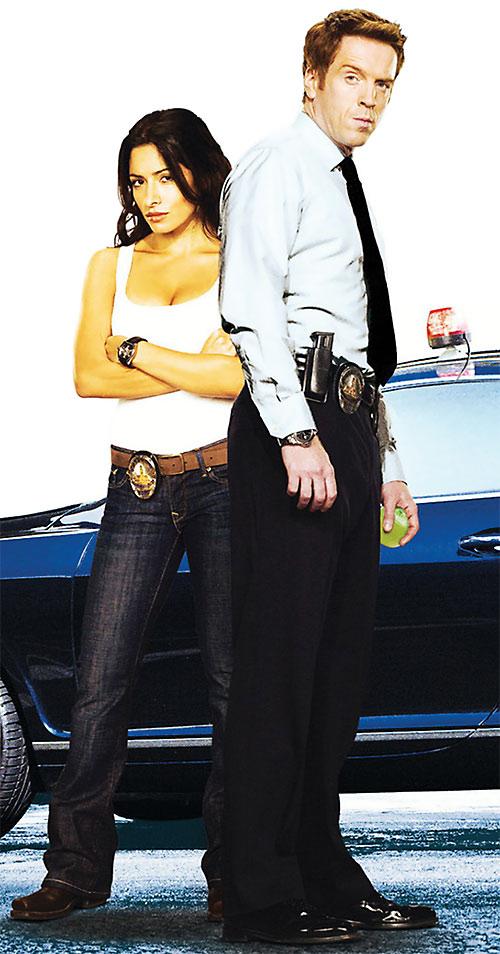 Charlie Crews (Damian Lewis in the Life TV series) and Sarah Shahi