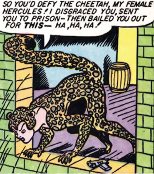 Cheetah of Earth-2 (Wonder Woman enemy) (Golden Age DC Comics) weirdly perched at a window