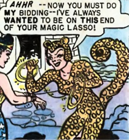 Cheetah of Earth-2 (Wonder Woman enemy) (Golden Age DC Comics) tying up Wonder Woman