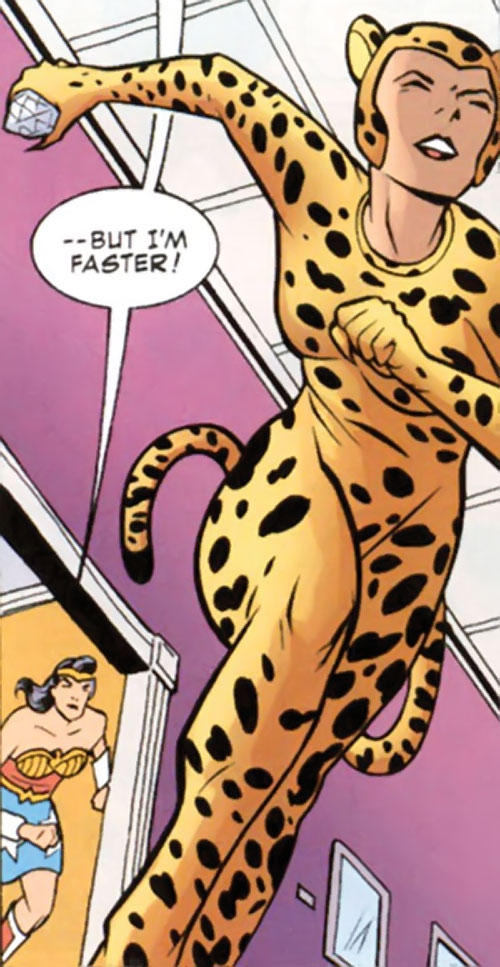 Cheetah of Earth-2 (Wonder Woman enemy) (Golden Age DC Comics) running away from Hippolyta