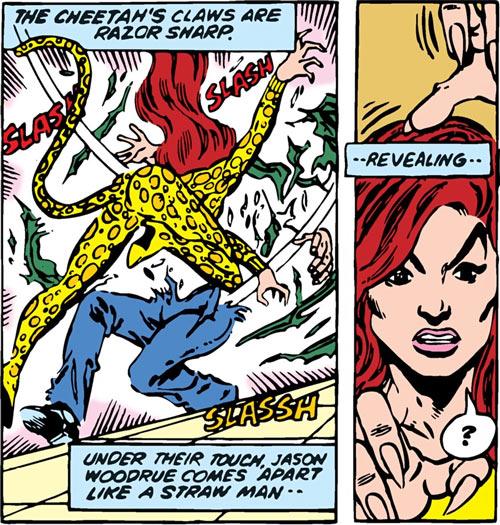 Cheetah (Wonder Woman enemy) (DC Comics) (Domaine) shredding a plant man