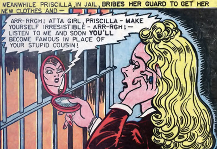 The Cheetah persona gives orders to Priscilla Rich