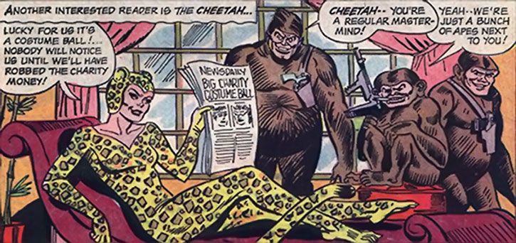 The Cheetah and her henchmen in ape costumes