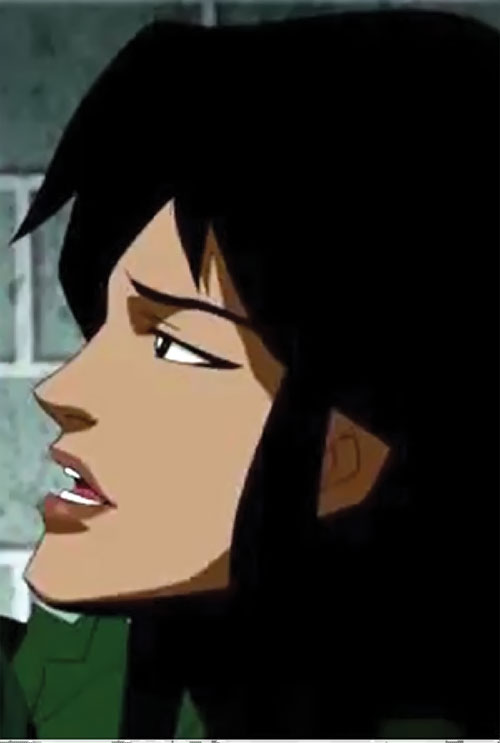 Cheshire (Young Justice enemy) face closeup side view