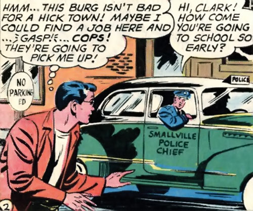 Chief Douglas Parker (Superboy character) in a patrol car