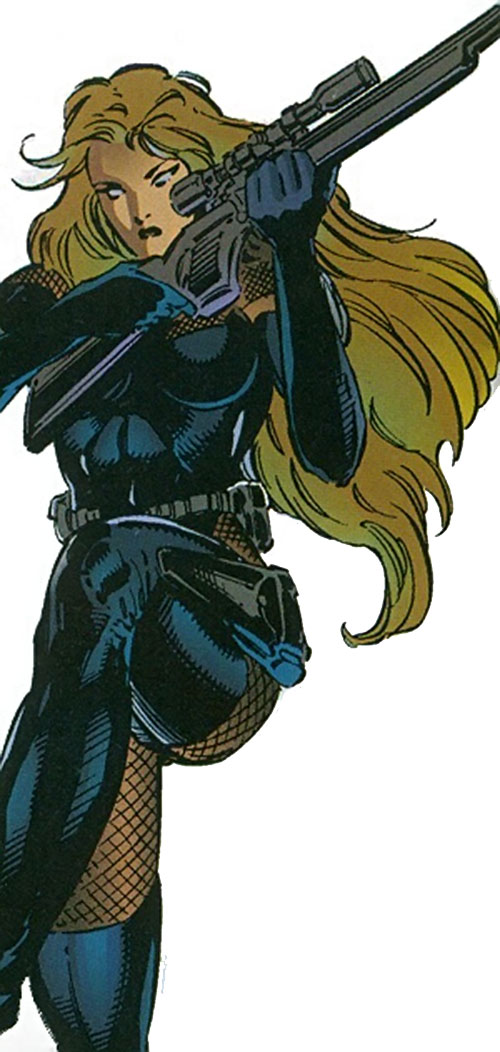 Chimera (Sovereign 7 enemy) (DC Comics) disguised as a female sniper