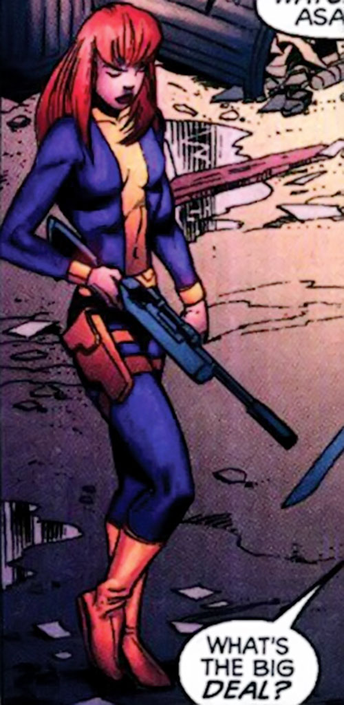 Christine St. Clair (Manhunter DC Comics) with a sniper rifle