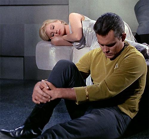Captain Christopher Pike (Jeffrey Hunter in Star Trek) in his cell