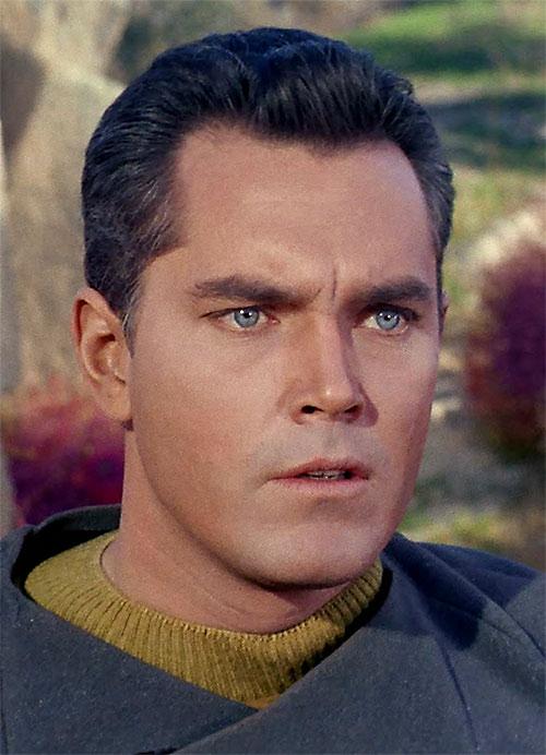 Captain Christopher Pike (Jeffrey Hunter in Star Trek) face closeup