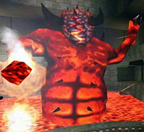 Quake Chthon hurling lava
