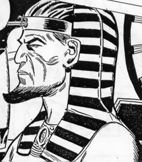 Chufru the Golden Pharaoh (Peacemaker enemy) (Charlton Comics) face closeup