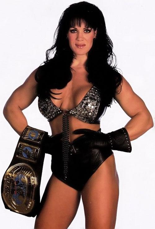 Chyna (wrestler) posing with a trophy belt