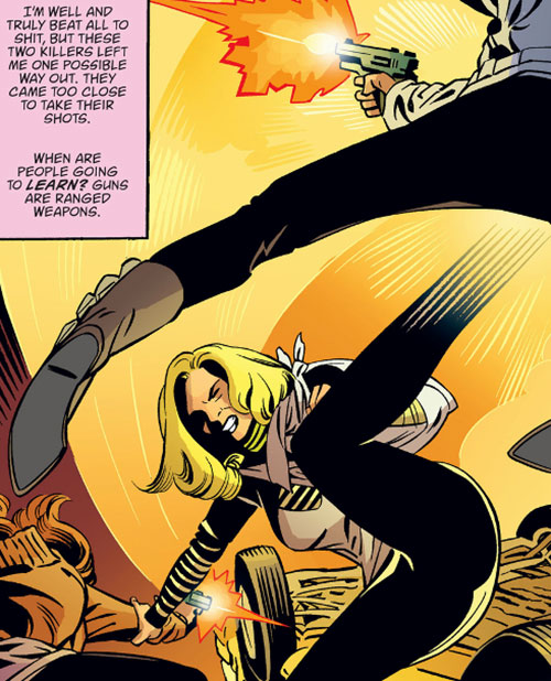 Cinderella of the Fables (DC Comics) fighting 2 gunmen