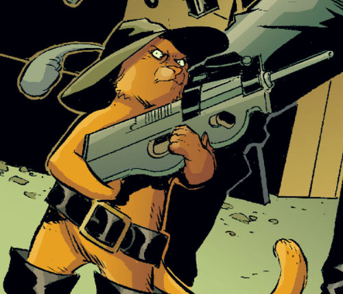 Puss in Boots of the Fables (DC Comics) with a FN P90 gun