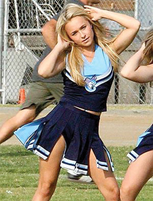 Claire Bennet (Hayden Panetierre in Heroes) exercising on a football field