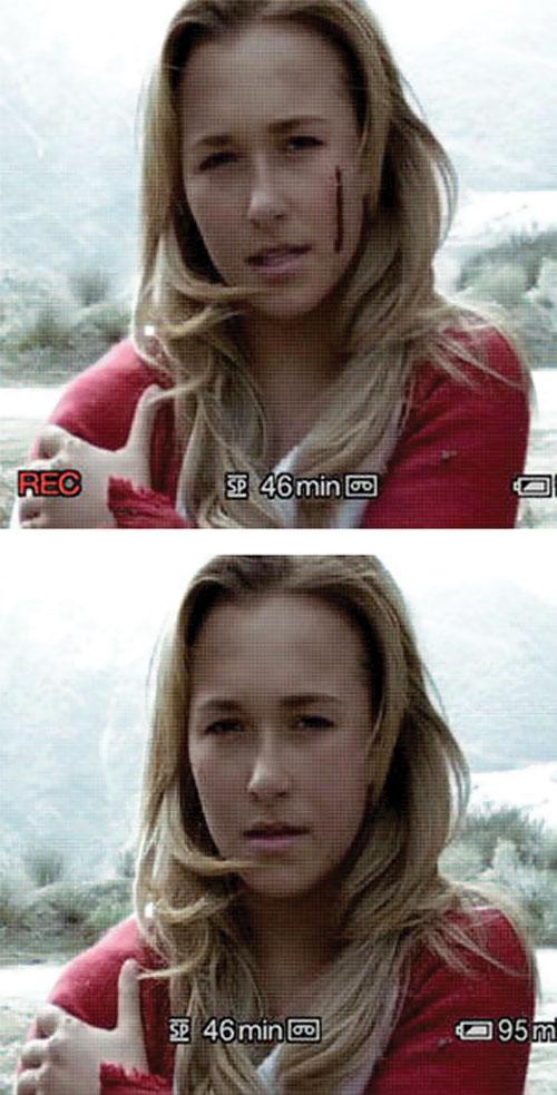 Claire Bennet (Hayden Panetierre in Heroes) regenerating cut on face