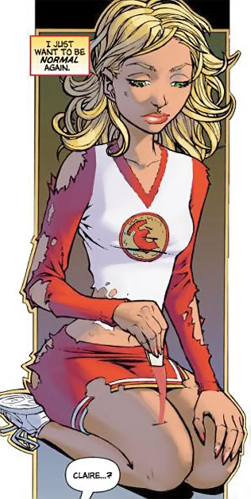 Claire Bennet (Hayden Panetierre in Heroes) comic book removing a blade from her thigh