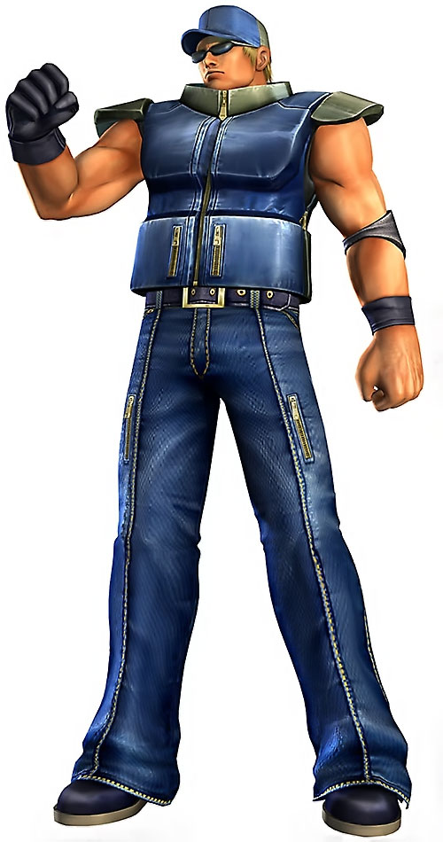 Clark Still (King of Fighters video games) in blue with armored vest
