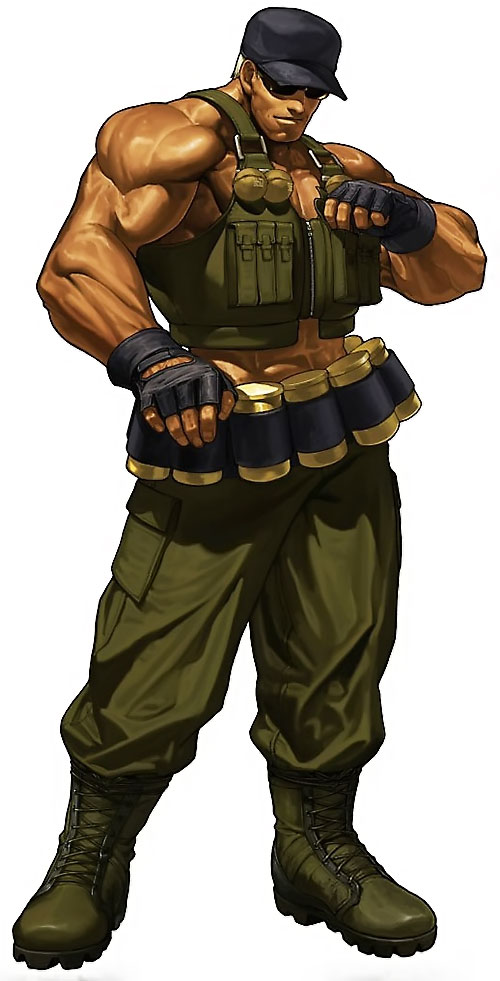 Clark Still (King of Fighters video games) in Army green