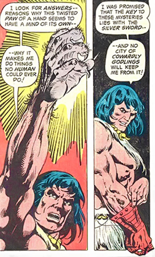 Claw the Unconquered (DC Comics) showing his demon hand