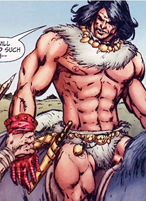 Claw the Unconquered (DC Comics) riding in fur briefs