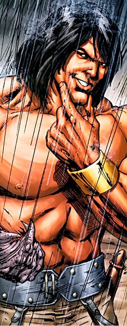 Claw the Unconquered (DC Comics) smirking under the rain