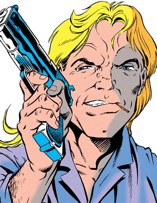 Cluemaster - DC Comics - Batman / Robin foe - Face closeup unmasked pistol