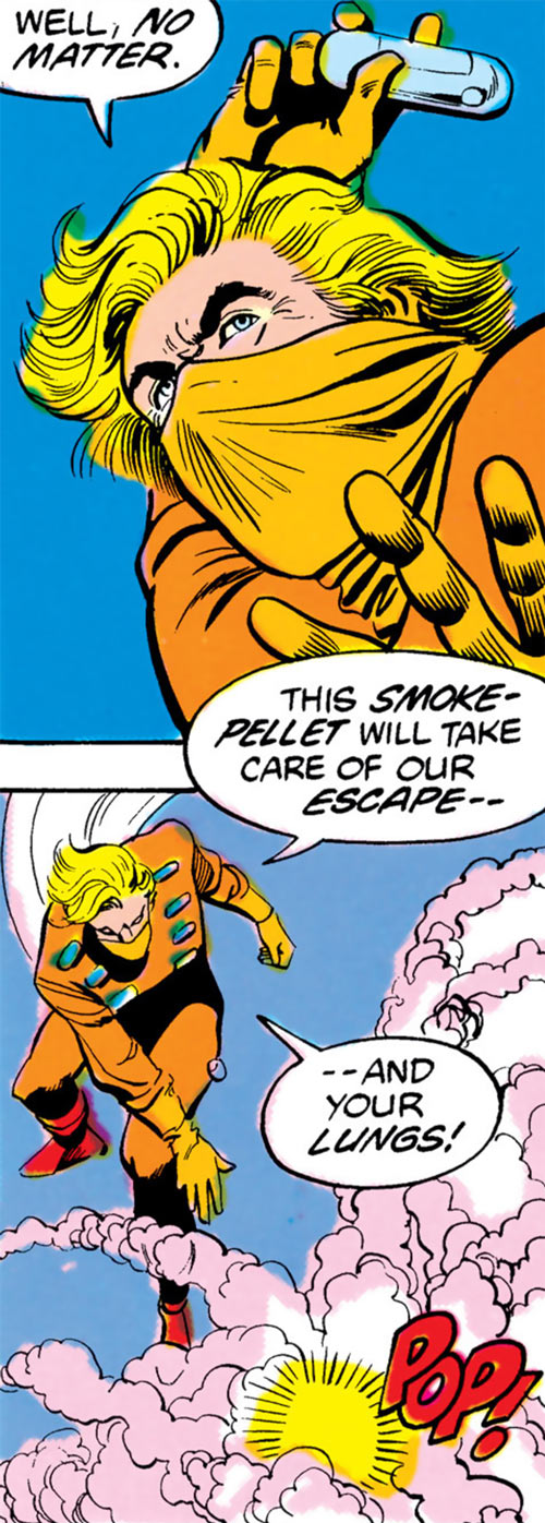 Cluemaster (DC Comics / Batman) throws a smoke pellet