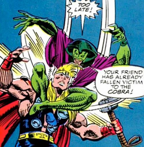 Cobra (Marvel Comics) attacks Thor