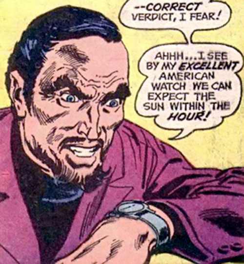 Colonel Sulphur (Batman enemy) (DC Comics) checks his watch