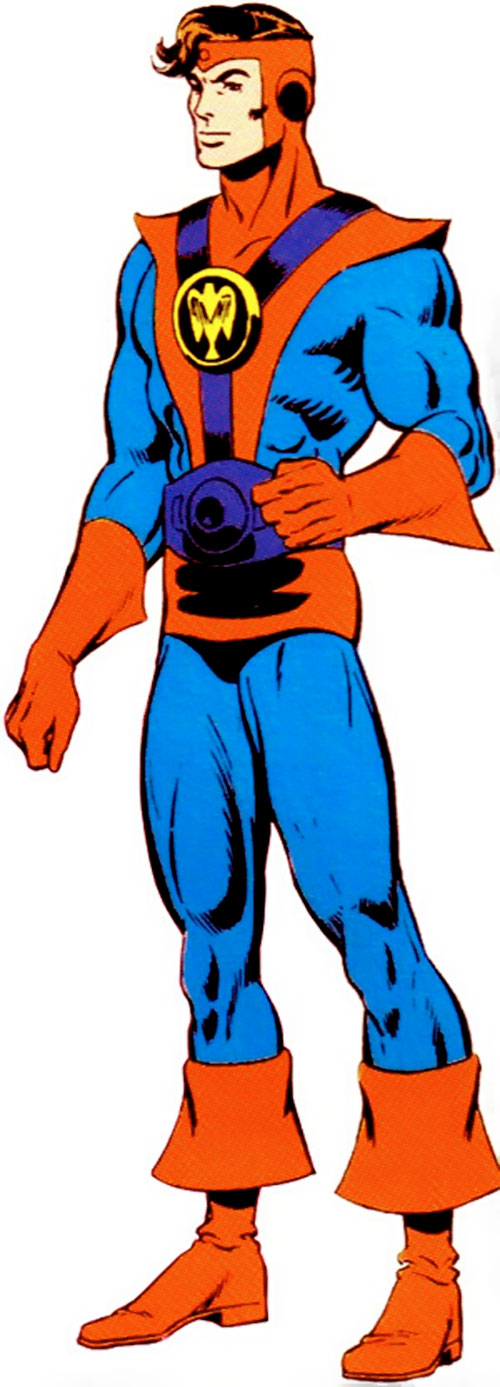 Colossal Boy of the Legion of Super-Heroes (pre-boot DC Comics) in the red and blue costume