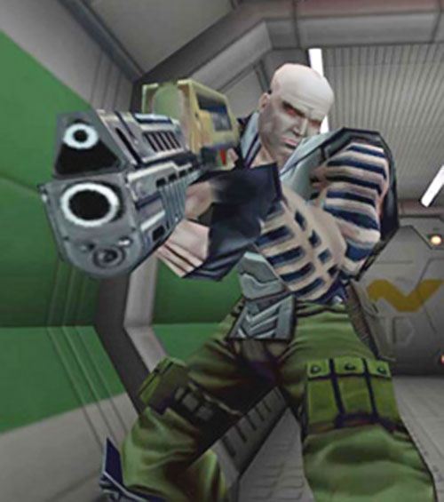 Combat Synthetic aiming a rifle in the Alien vs. predator video game