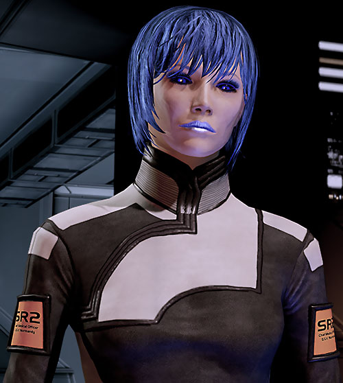 Commander Mari Shepard (Mass Effect 2) head slightly cocked to the side