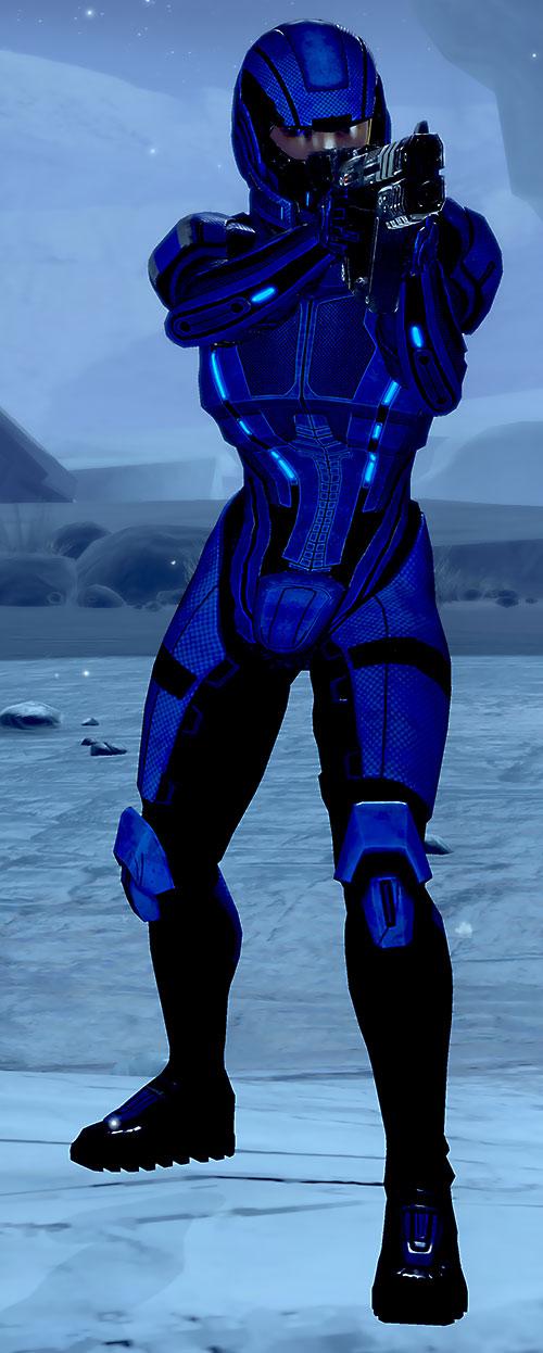 Commander Mari Shepard (Mass Effect 2) in blue body armor aiming a pistol