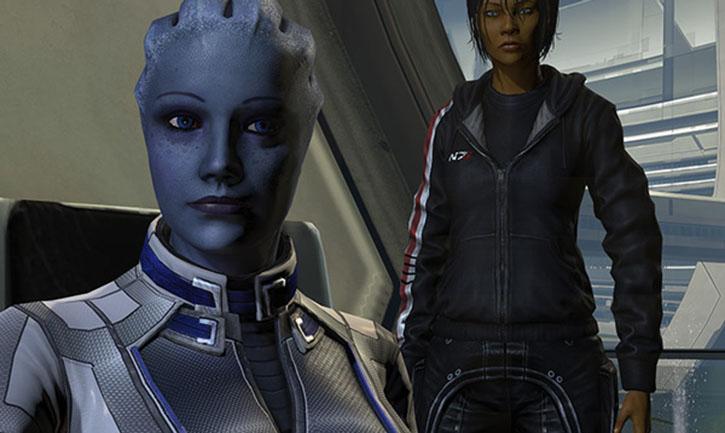 Commander Shepard (Mass Effect 3) standing behind a smiling Liara