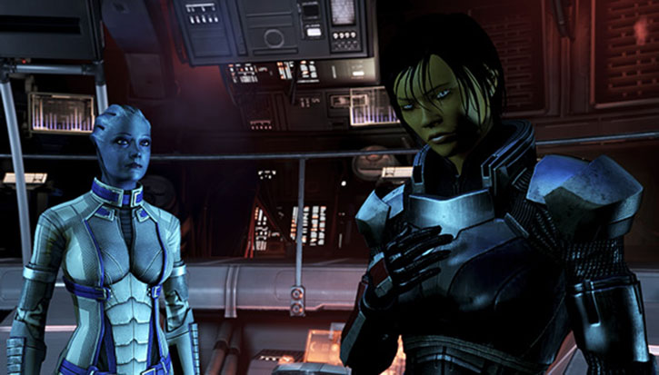 Commander Shepard (Mass Effect 3) looking angry as Liara watches