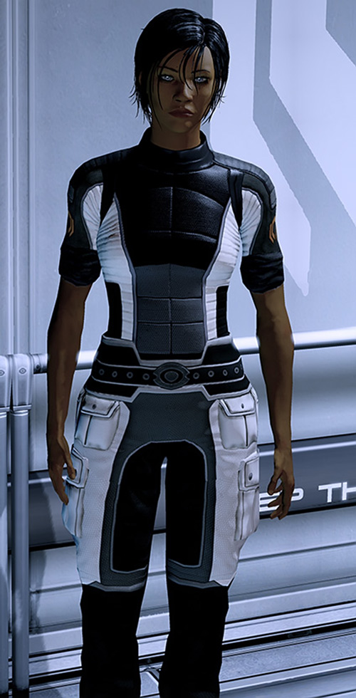 Commander Shepard (Mass Effect 2) white and black Cerberus jumpsuit