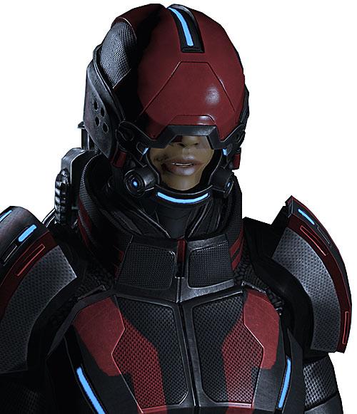 Commander Shepard (Mass Effect 2) black and red Kestrel with helmet