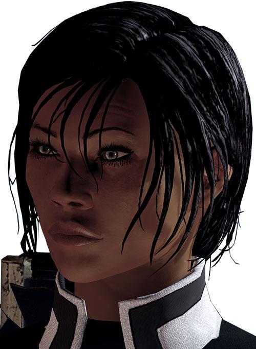 Commander Shepard (Mass Effect 2) face closeup slight pout