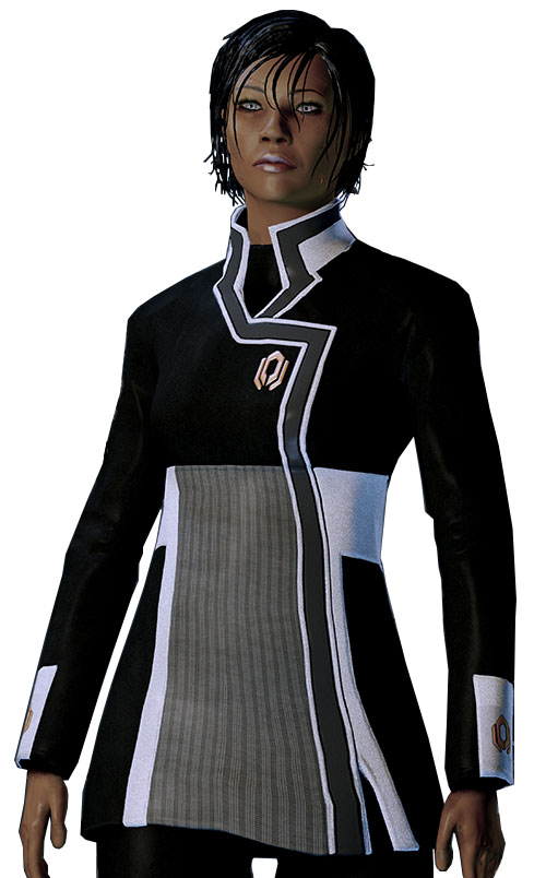 Commander Shepard (Mass Effect 2) black and white Cerberus tunic