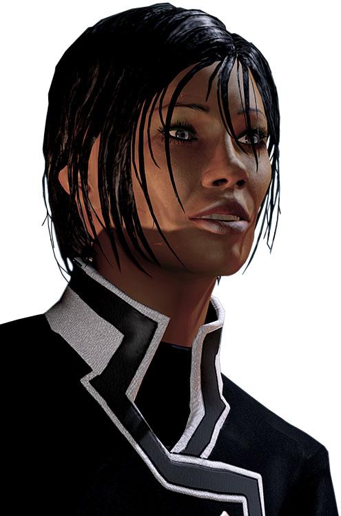 Commander Shepard (Mass Effect 2) face closeup smiling