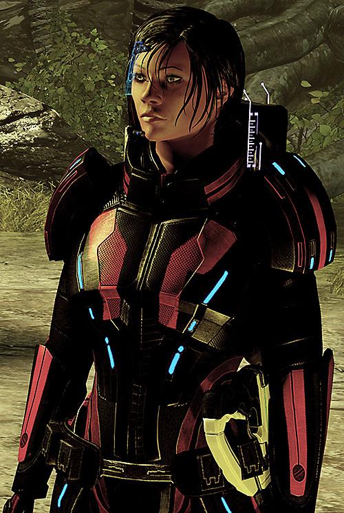 Commander Shepard (Mass Effect 2) Kestrel armor near a forest