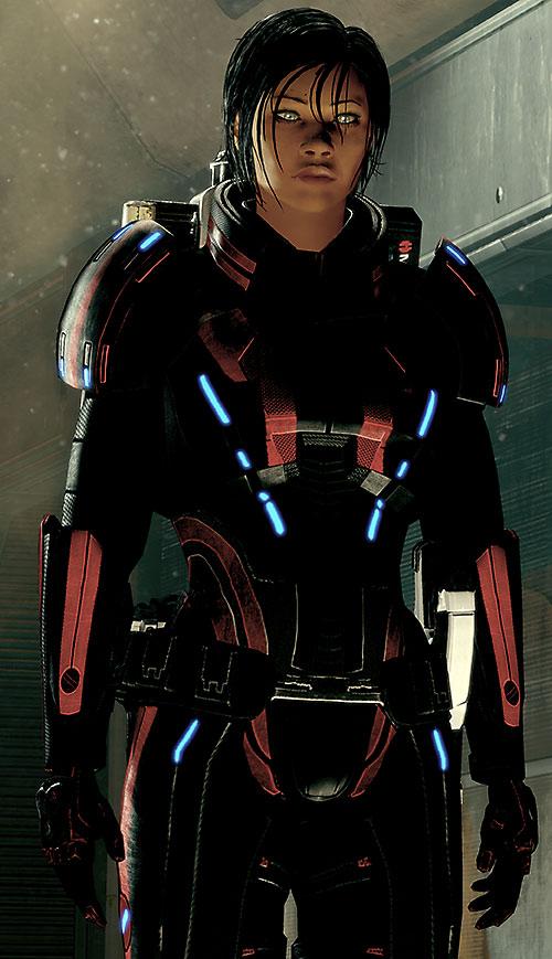 Commander Shepard (Mass Effect 2) in a dusty corridor