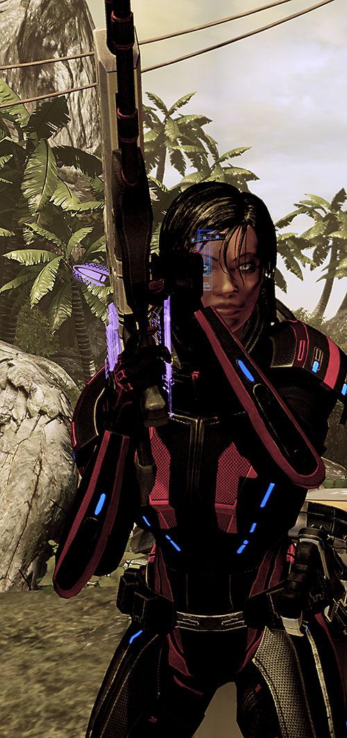 Commander Shepard (Mass Effect 2) operating a sniper rifle