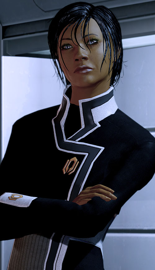Commander Shepard (Mass Effect 2) with arms crossed and head tilted