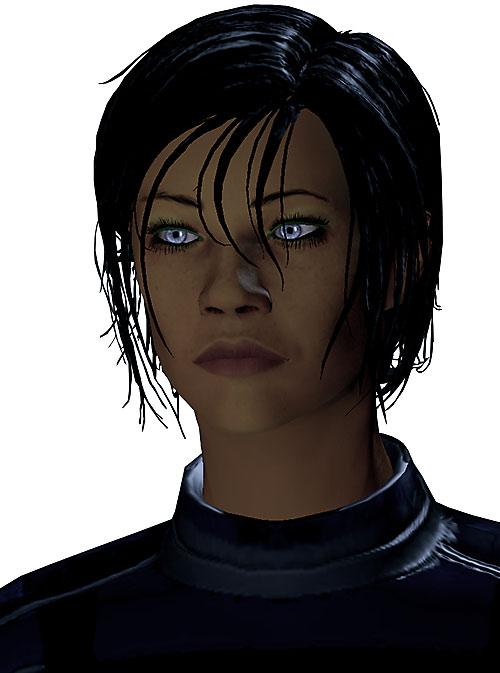 Commander Shepard (Mass Effect 2) intense gaze