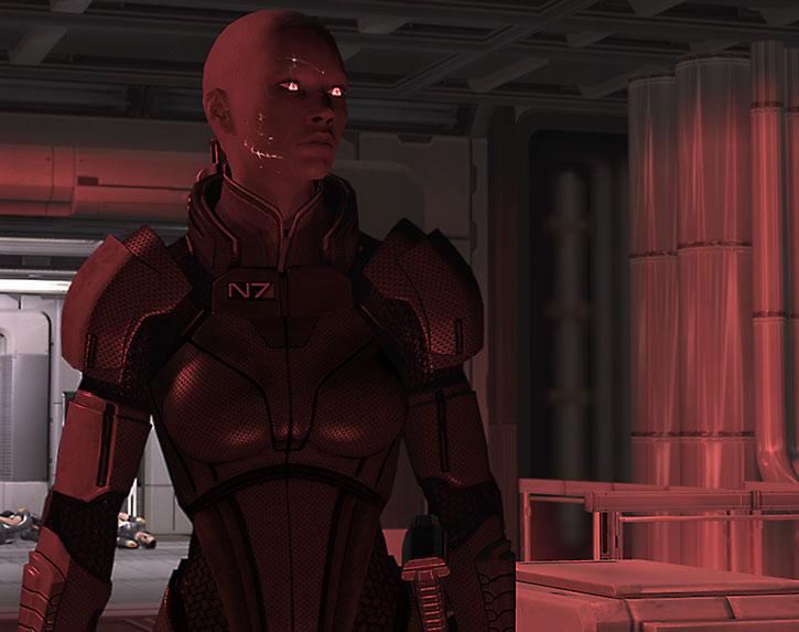 Commander Shepard shambles through the Project Lazarus station