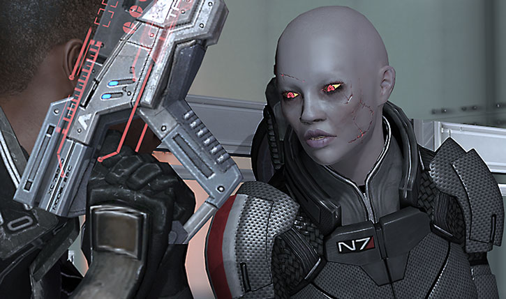 Zombie Commander Shepard snaps at Jacob Taylor