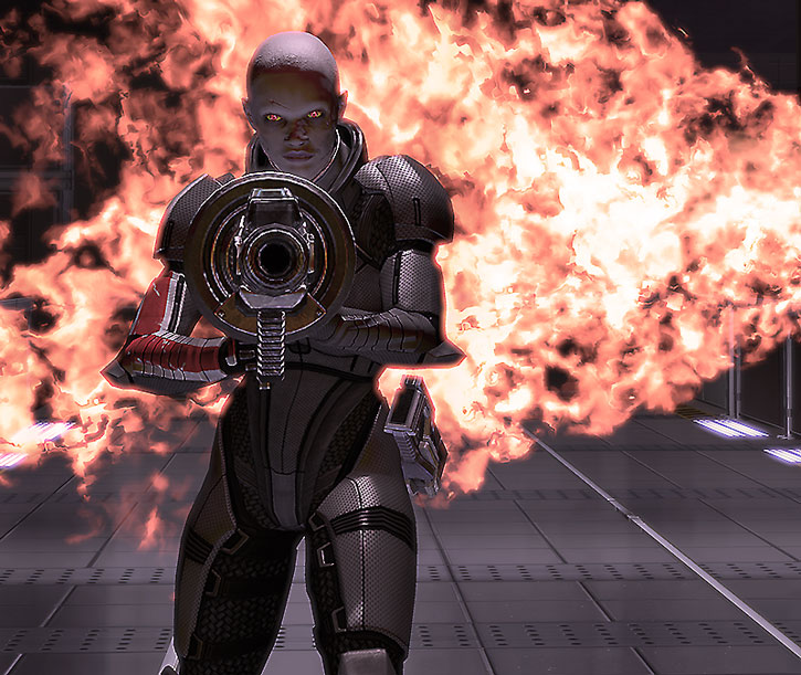 Zombie Commander Shepard aims a grenade launcher